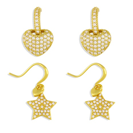 Fashion heart-shape copper inlaid zircon earrings wholesale NHAS345797's discount tags