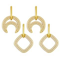 Mode geometrische Kupfer eingelegte Zirkon Ohrringe Großhandel NHAS345798