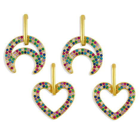 Fashion heart-shape moon copper inlaid zircon earrings wholesale NHAS345800's discount tags