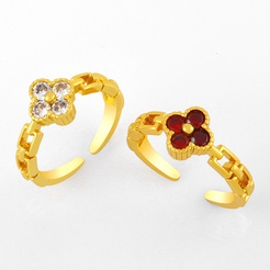 Verstellbarer Ring aus koreanischer Kupfereinlage mit Zirkonblütenöffnung NHAS345802