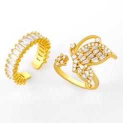 Mode geometrischen Schmetterling Kupfer eingelegt Zirkon Ring Großhandel NHAS345805