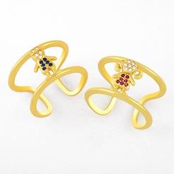 Hip-Hop Doppelschicht geometrische Zirkon Paar Ringe NHAS345806