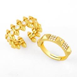 Mode geometrischen Nagel Kupfer eingelegten Zirkonring NHAS345808