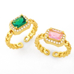 Hip Hop Kupfer vergoldet Zirkon geometrischen Ring Großhandel NHAS345809