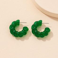 Koreanische Acryl geometrische C-Form grüne Ohrringe Großhandel NHAI345819