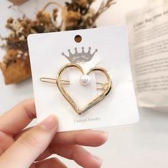 Korea Metallperle Haarnadel geometrische Haarschnalle Herz Haarspangen NHAQ345829