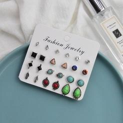 Mode geometrische Perle Strass Legierung Ohrringe 12 Paar Set NHSD345832