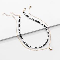 Mode Doppelschicht schwarz weiß Legierung Halskette Großhandel NHLU345840