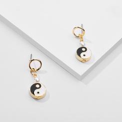 Mode einfachen Stil Yin Yang tropfen Ohrringe NHLU345870