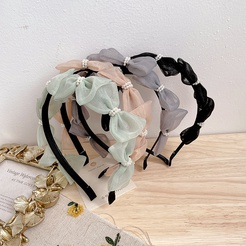 Koreanischer neuer Stil des reinen farbigen Perlenbogenknotengarn-Stirnbandes NHHI345883
