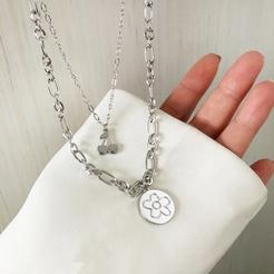 Mode doppelschichtige Kirschblumenlegierung Halskette Großhandel NHBY345891