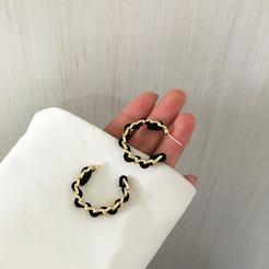 Mode C-förmige halbkreisförmige kreative Flanell gewebte Ohrringe NHBY345892