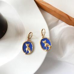 Retro Blue Cat Runde Öltropfen Legierung Ohrringe NHBY345902