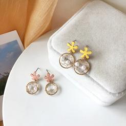Mode Blume Mesh Perle Legierung Ohrringe Großhandel NHBY345904