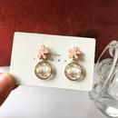 Fashion flower mesh pearl alloy earrings wholesale NHBY345904