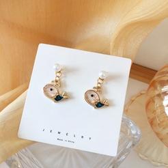 Mode kleine süße Wal Perle Legierung Ohrringe Großhandel NHBY345905
