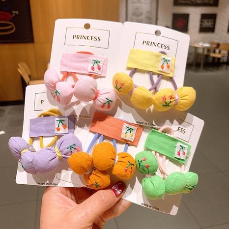 Nouvel anneau de cheveux de cerise de fruits de broderie d'arc pour enfants coréens NHSA345917's discount tags
