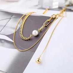 Koreanische geometrische unregelmäßige Perle mehrschichtige Titan Stahlkette Großhandel NHAB345954