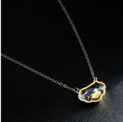 Mode Kristallglas Schloss Titan Stahl Halskette Großhandel NHAB345955
