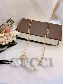 Mode Perle unregelmäßige Nähte Kette Titan Stahl Halskette Großhandel NHAB345956