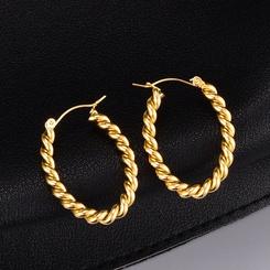 Großhandel einfache goldene Twist gewebte dicke Ringohrringe NHAB345965