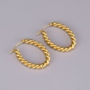 wholesale simple golden twist woven thick ring earrings NHAB345965