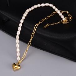 Mode Perle halb gespleißte Kette Herzform Titan Stahlkette Großhandel NHAB345968