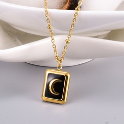 Retro Square Black Moon Titan Stahlkette Großhandel NHAB345970