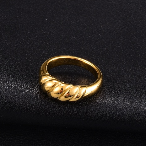 fashion twisted titanium steel gold ring NHAB345974's discount tags