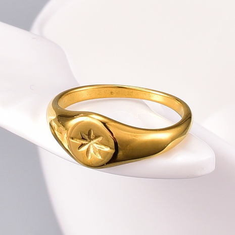 fashion titanium steel gold-plated six-pointed star ring NHAB345992's discount tags