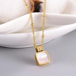 Fashion Square White Shell Schwarz Runde Perlenkette Titan Stahlkette Großhandel NHAB345994