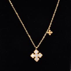 Mode Muschel weißes Kreuz Titan Stahlkette Großhandel NHAB345996