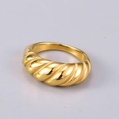 einfacher gedrehter goldener Titanstahlring NHAB345997