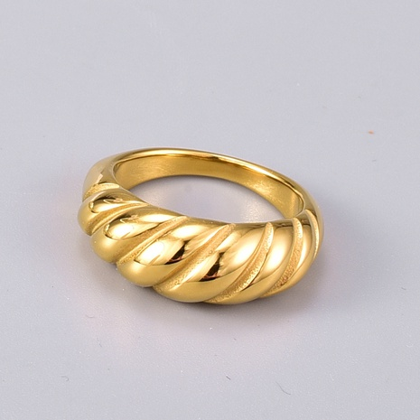 simple twisted gold titanium steel ring  NHAB345997's discount tags