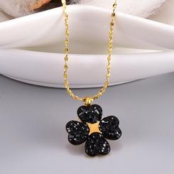 Mode Diamant schwarze Blume Gypsophila Titan Stahlkette Großhandel NHAB345999