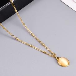 Mode ovale Opal kurzkettige Titan Stahlkette Großhandel NHAB346005