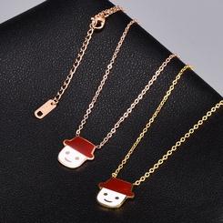 Mode Puppenkopf Eis Titan Stahlkette Halskette Großhandel NHAB346007