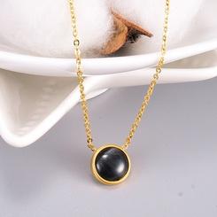 Mode Schwarz Runde Opal Titan Stahlkette Großhandel NHAB346008