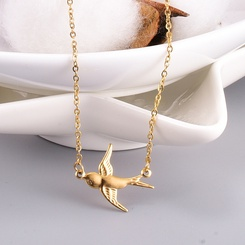 Mode Gold Vogel kurze Titan Stahlkette Großhandel NHAB346012