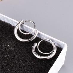 Großhandel Retro Doppelkreis Titan Stahl Ohrringe NHAB346017