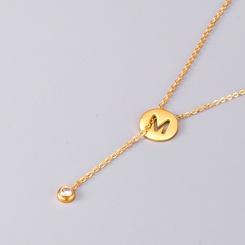 Mode M Wort Single Diamond Stacking Titan Stahl Halskette Großhandel NHAB346018