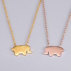 Mode Titan Stahl Elefant Halskette Großhandel NHAB346020