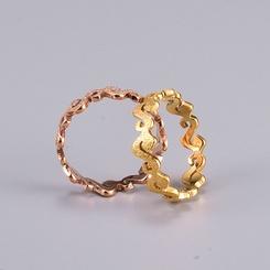 Großhandel Mode Gold gepressten Sand S-förmigen Titan Stahlring NHAB346023