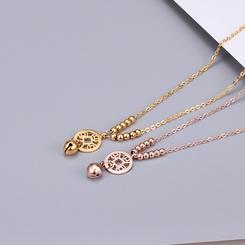 Mode runde Perlen Münze hängen Glocke kurze Titan Stahlkette Großhandel NHAB346024