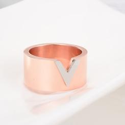 Mode Titan Stahl Roségold V-förmigen Ring NHAB346025