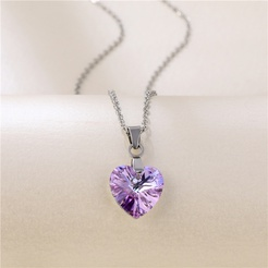 Mode Kristall Herzform Titan Stahlkette Großhandel NHAC346027