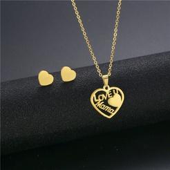 Mode herzförmige Titan Stahl Ohrringe Halskette Set NHAC346028