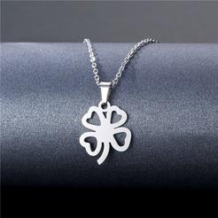 Mode vierblättrige Kleeblatt Titan Stahl Halskette Großhandel NHAC346029
