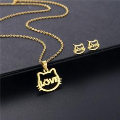 Mode Katze Titan Stahl Ohrringe Halskette Set Großhandel NHAC346031