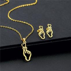 Mode Herzform Titan Stahl Ohrringe Halskette Set Großhandel NHAC346032